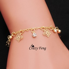 gold-color Butterfly Shape bracelets for women hand Chain Free shipping