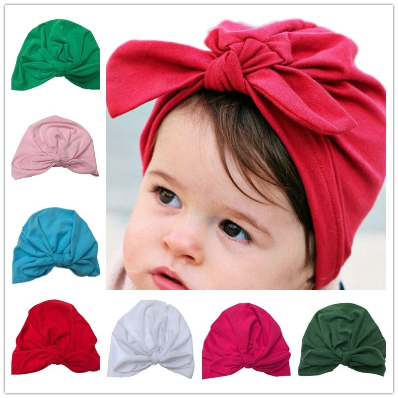 Bnaturalwell Baby turban hat with bow turbans for tots Infant toddler Topknot beanie Baby girls shower gift stretchy 1pc H034 Torex