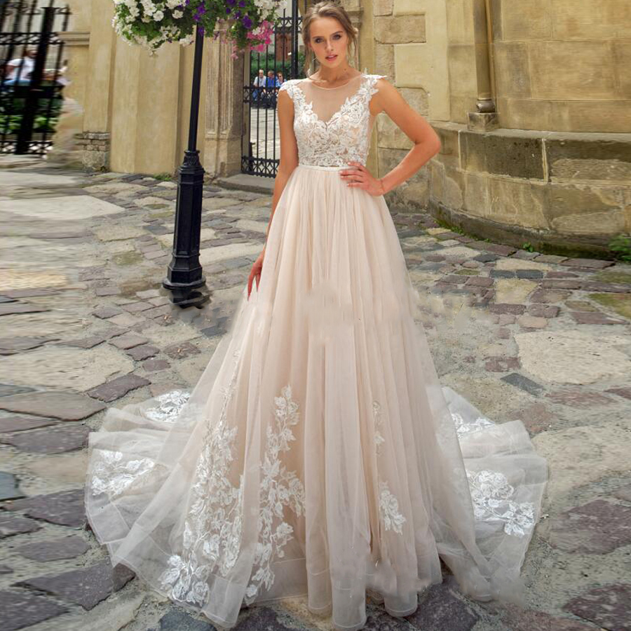 O neck Tulle Sleeveless Lace Applique A line Wedding Dress with A Belt Illusion Button Back