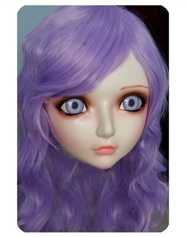 Collection Here Women/girl Sweet Resin Half Head Kigurumi Bjd Mask Cosplay Japanese Anime Lifelike Lolita Mask Crossdressing Sex Doll gl025