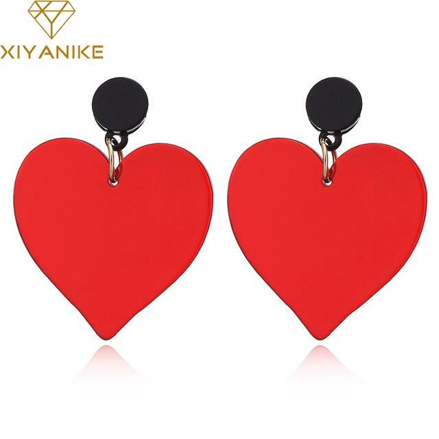 Xiyanike интересные акриловые серьги с подвеской в виде для Для женщин девочек зеркальные наклейки в виде большого сердца Висячие серьги клуб классики; ювелирные изделия Brincos, можно носить с E1820