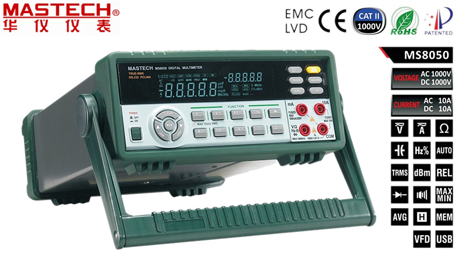 FREE SHIPPING MASTECH MS8050 Digital Multimeter 53K Counts High Accurayc Bench/True RMS цена