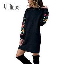 074a4f3464 Y Nidus vestidos de invierno de las mujeres Mini vestido elegante de  estampado Floral manga larga