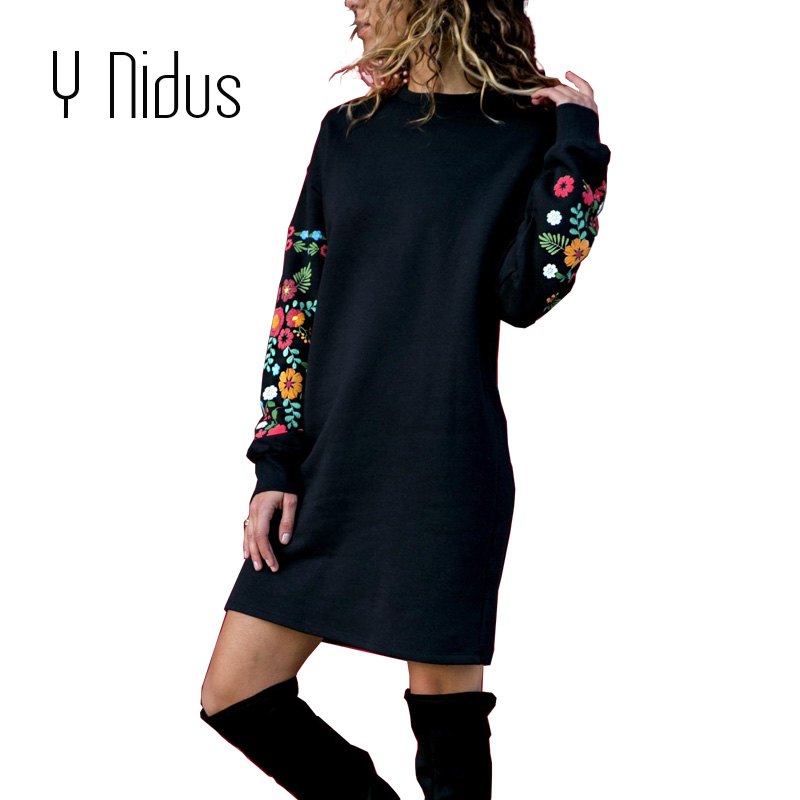 Y Nidus Vestidos Mulheres Inverno Mini Vestido Elegante da Cópia Floral Manga Comprida O Pescoço Solto Streeetwear Quente Vestido Preto vestido 2018