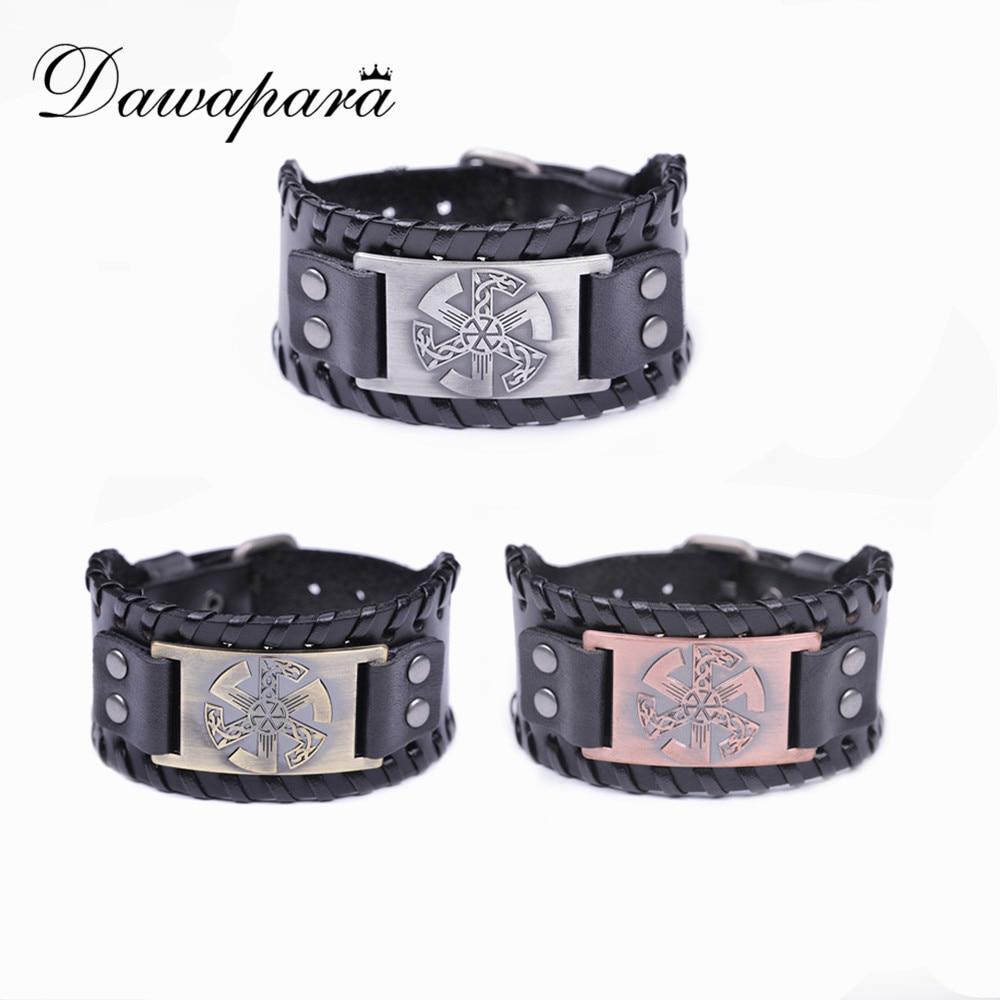 Dawapara Handmade Leather Wristband Russian Slavic Kolovrat Pendant Symbol Pagan Amulet Bangles Men's Bracelet Jewelry