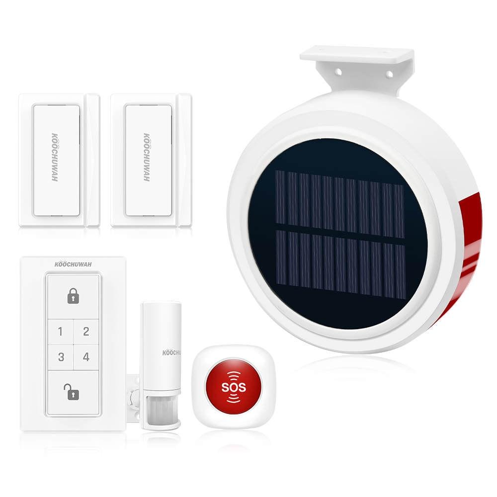 Smart Home Security Alarm System Wireless Solar Powered Anti Burglar Alarm SMS Remote Control PIR Sensor Door Window Sensor-in Alarm System Kits from Security & Protection