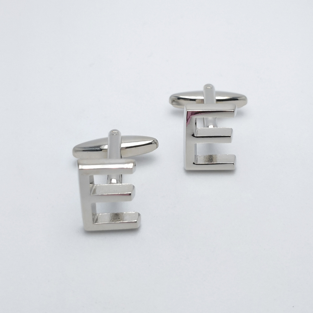 HUISHI Silver color 26 Letters Alphabet Cufflinks For Mens Shirt Copper Color Fashion Silver Alphabet Letter Designs Cufflink in Tie Clips Cufflinks from Jewelry Accessories