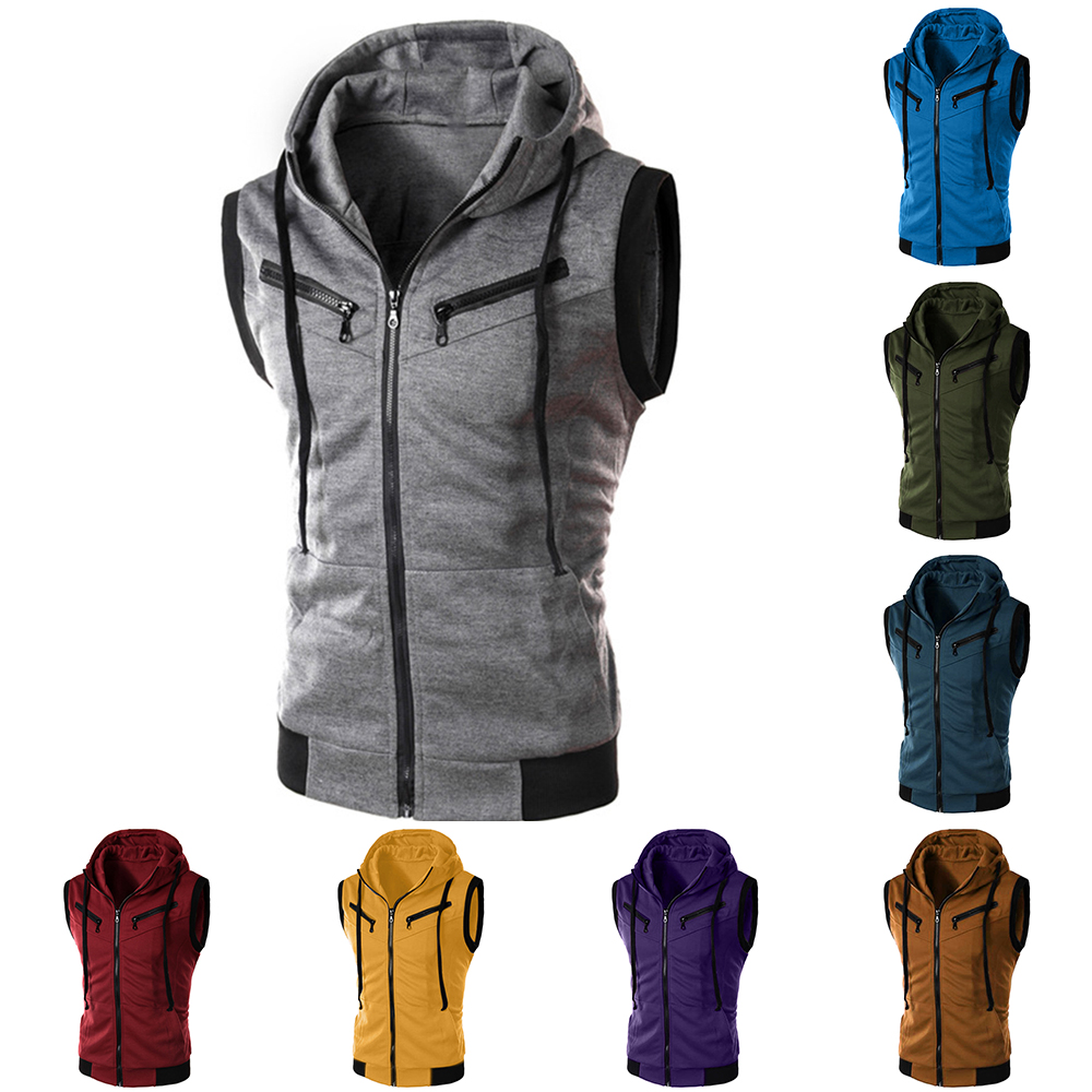 Laamei Men's Hoodies Vest Men Zipper Sports Fitness Hooded   Tank     Top   Patchwork Casual Fashion Hot Sales Vest Jacket Waistcoat 5XL