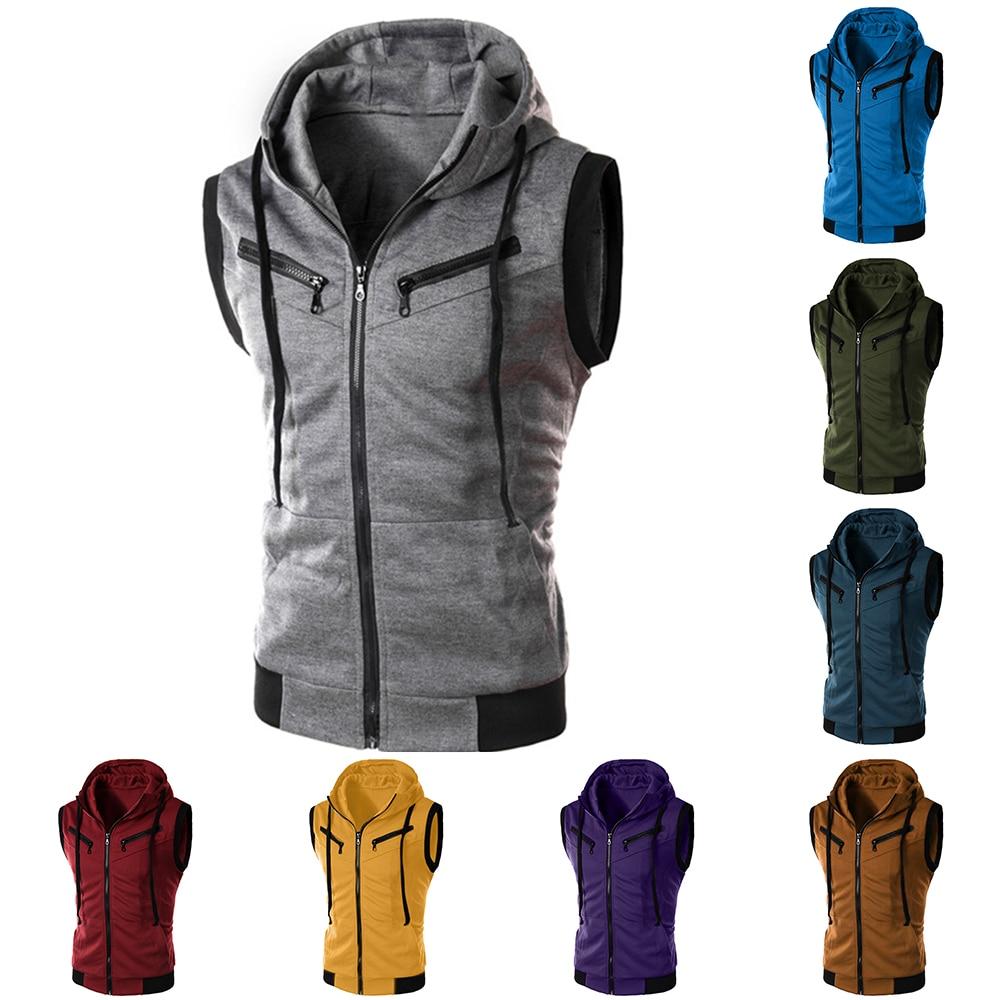 Laamei Men's Hoodies Vest Men Zipper Sports Fitness Hooded   Tank     Top   Patchwork Casual Fashion Hot Sales Vest Jacket Waistcoat 5XL