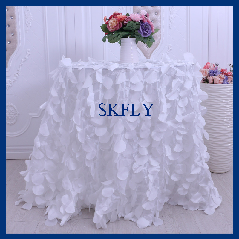 CL018A wedding 90 inch round white petal taffeta cake table cloth
