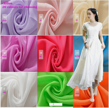 Wide 150x1m Good Chiffon Fabric 100% Polyester White For DIY Girl Silk Dress Skirt Curtain 20 Colours