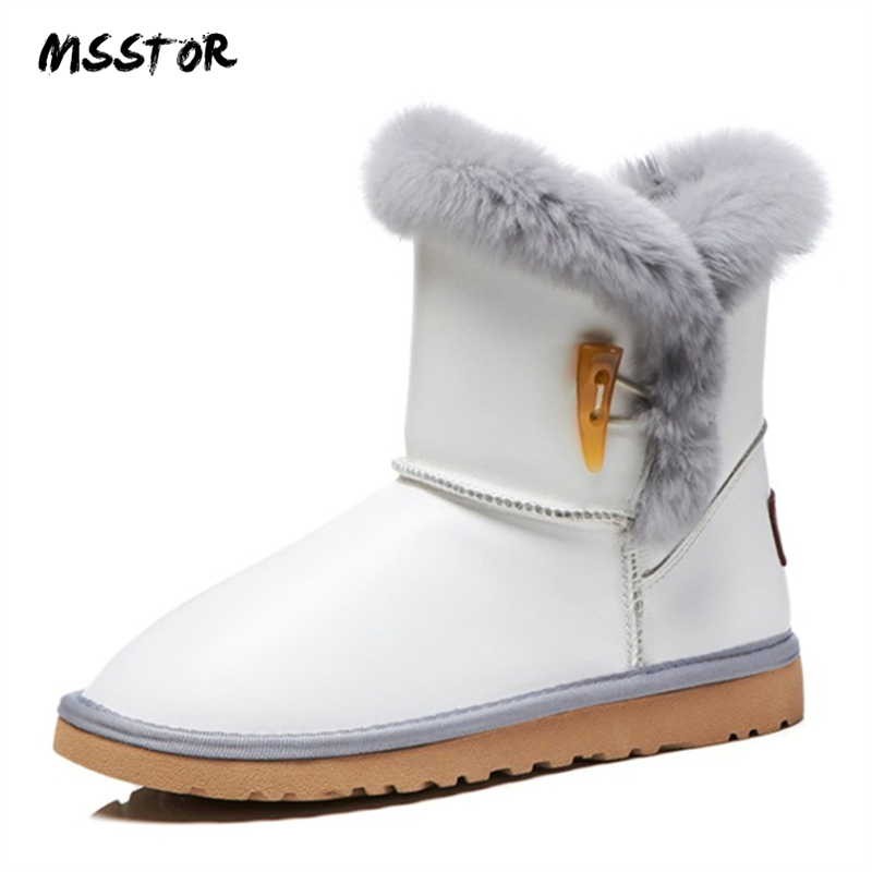MSSTOR Genuine Leather Snow Boots Women Fashion Casual Party Flat Winter Boots Women Round Toe Fur Black Boots Ankle Women 3CM women winter flats genuine leather round toe match colored buckle rhinestone fur fashion ankle snow boots size 35 39 sxq0826