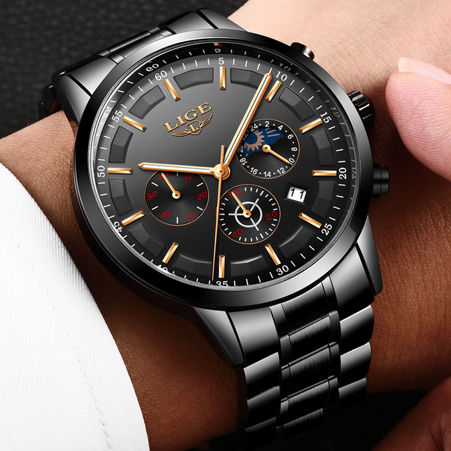 LIGE Fashion Sports Clock Top Brand Luxury Business Chronograph Waterproof Men Quartz Watches 1