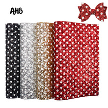 AHB Faux Leather Fabric Shiny Sequins With Dots Chunky Glitter Fabric DIY Leather Sheet Handmade Crafts Patchwork Materials ahb synthetic leather glitter printed unicorn shiny fabric faux leather sheets diy hair bows fabric handmade crafts materials
