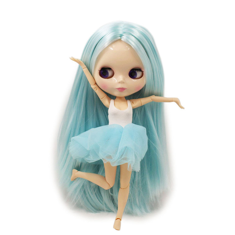 ICY Nude Blyth doll No BLK6909 Lake Blue hair JOINT body White skin 1 6 BJD