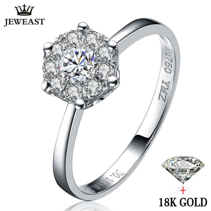 18k gold diamond ring wedding propose women female girl gift 1CT 2CT 3CT Luxury Group inlay genuine new Large size Customization