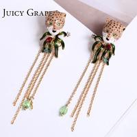 Gold Color Leopard head Tassel Stud Earrings for Women 925 Silver Needle jewelry enamel glaze precious Jewerly Stud Earring