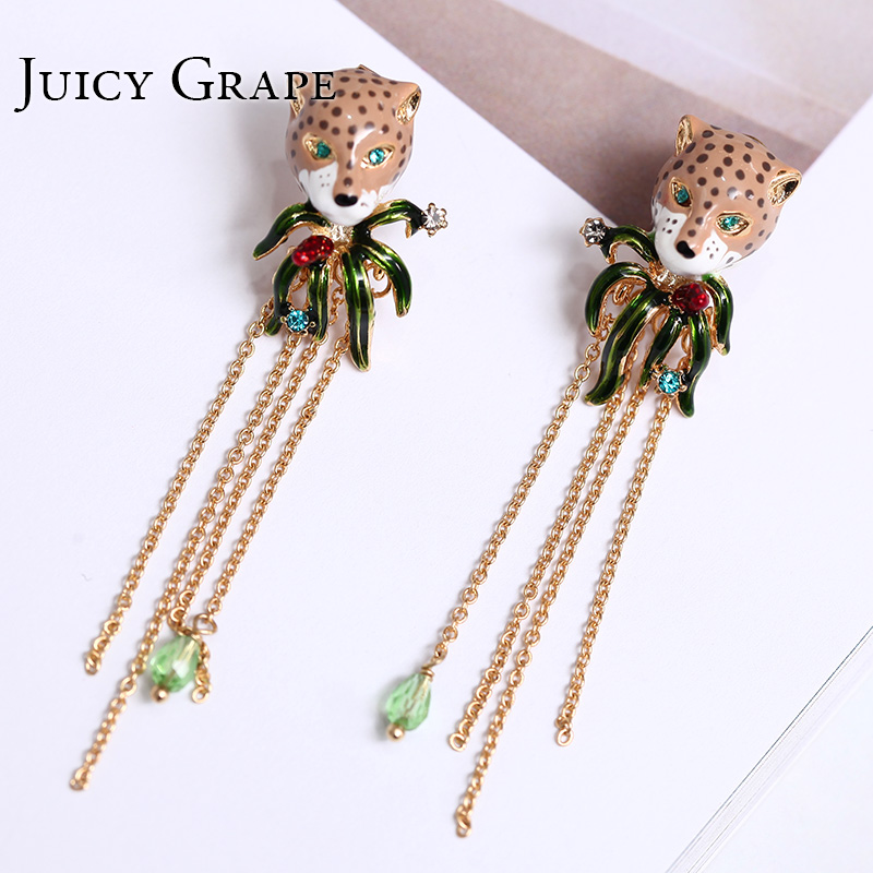 Gold Color Leopard head Tassel Stud Earrings for Women 925 Silver Needle jewelry enamel glaze precious Jewerly Stud Earring copper jewelry leopard head hanging pearl stud earrings tiger head green rhinestone black stud earrings for women