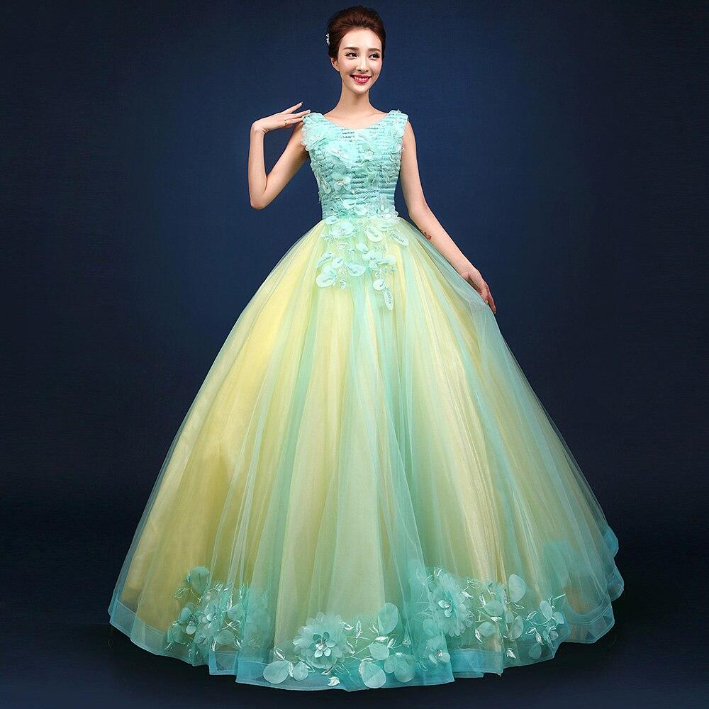 Medieval Renaissance Light Blue And White Gown Dress: Light Blue Veil Flower Petals Beading Ball Gown Princess
