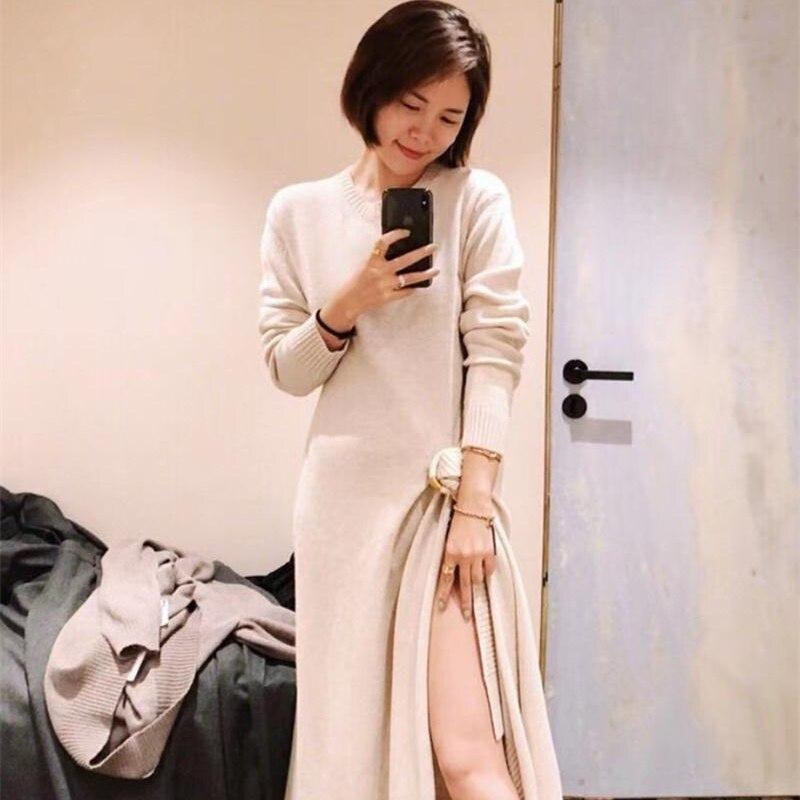 Robe en tricot fendu irrégulière 2019 début du printemps nouvelle robe en tricot lâche paresseux attention machine rétro robe pull femmes