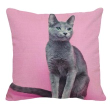Cute Pet Russian Blue cat Pattern Square Linen Pillow Case Home Sofa Pillow Cover Animal Cushion Cover 45x45cm