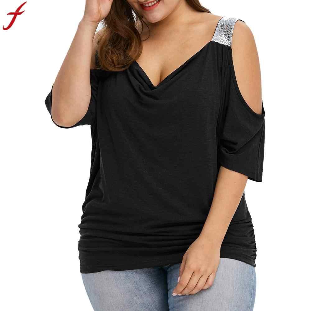5XL 4XL плюс размер женские летние блузки 2019 холодное плечо большой размер черная рубашка с коротким рукавом Свободные женские топы и блузки