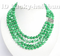 Wholesale price FREE SHIPPING AD Genuine NEW 4row 8mm 17 round green jade necklace 925ss