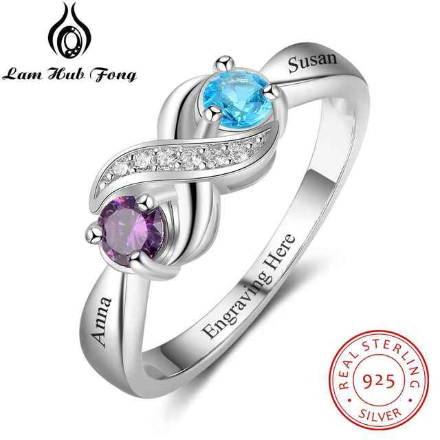 Promise 925 Sterling Silver For Women DIY Rings Heart Birthstone Name Fine Jewel