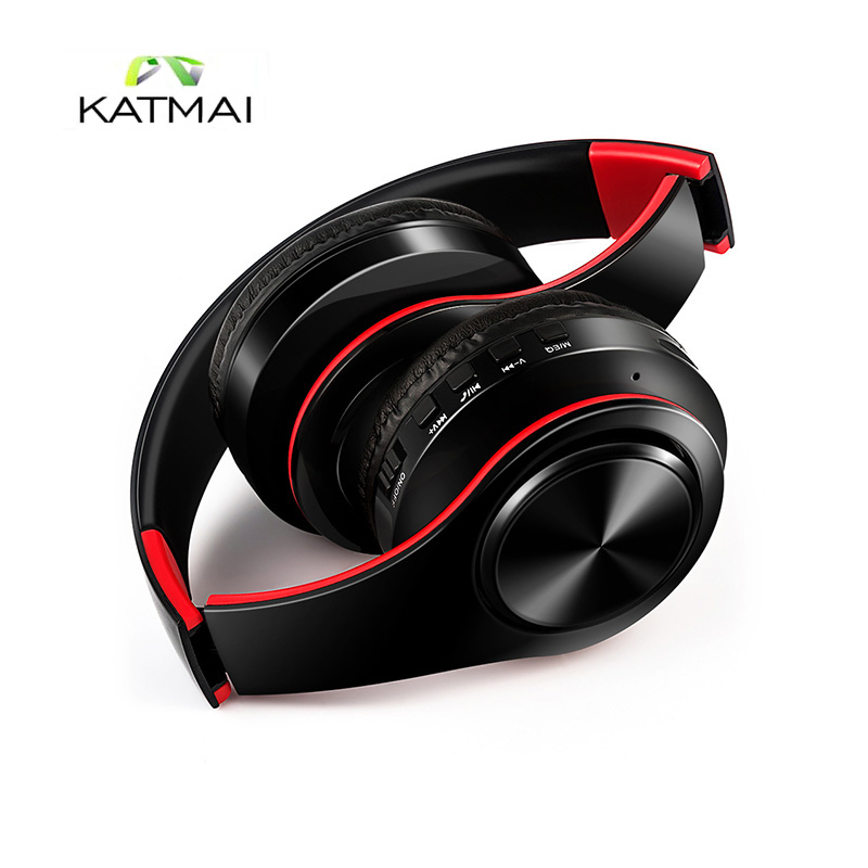 KATMAI Bluetooth Headphones Wireless Stereo Noise Cancelling Headset with Mic/Micro SD Card Earphones For Iphone fone de ouvido a01 bluetooth headset v4 1 wireless headphones noise cancelling with mic handsfree earpiece for driving ios android