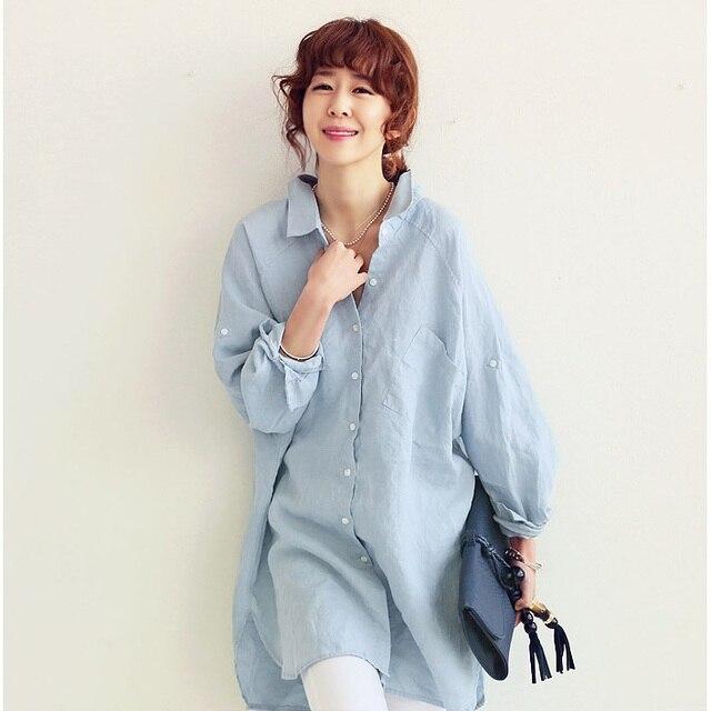 2018 camisas de lino de algodón Mujer Casual suelta botón blusa Tops Blusas mujeres Sexy Camisetas largas blancas para mujeres Plus tamaño Xxl