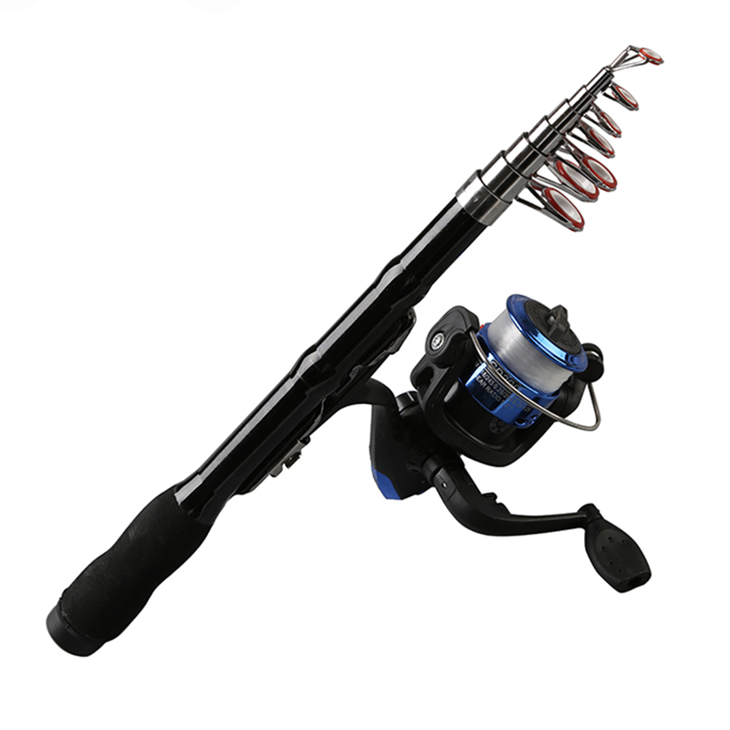 Mini Portable Telescopic Fishing Rod Spinning Carbon Fish Hand Fishing Tackle Sea Rod Ocean Rod Fishing Pole 1.0M