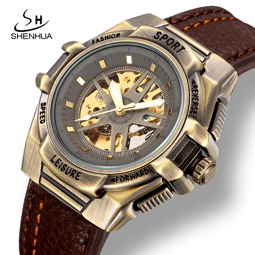 SHENHUA Mens Sport Automatic Wrist Watch Steampunk Men Mechanical Transparent Skeleton Watches Vintage Male Wristwatch Clock relogio masculino binkada skeleton mens automatic mechanical watches men military sport luminous watch male clock wristwatch