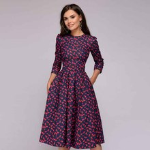 summer women dress vestidos sexy bodycon fashionable elegant  party floral korean long sleeve vintage top plus size