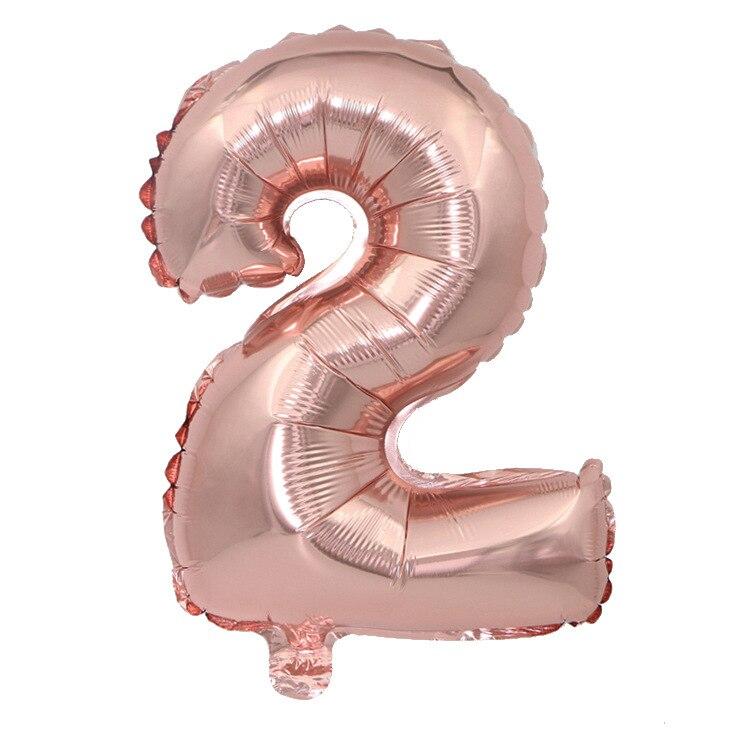 32 дюйма 0-9 Большие Гелиевые цифровые воздушные баллоны фольги детские игрушки на день рождения серебристые золотые розовые вечерние Детские Мультяшные шляпы - Цвет: rose gold 2