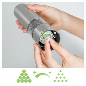Image 4 - SDFC עיתונות סגנון עגול פלפל מיל מטחנות חשמלי בנירוסטה, מלח מיל (מלח) או פלפל מיל כסף צבע עם ligh