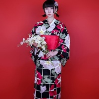 Asian Traditional Japanese Floral Kimono with Obi Women's Cotton Bath Robe Yukata Female Vintage Cosplay Costume Evening Dress