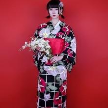 Asian Traditional Japanese Floral Kimono with Obi Womens Cotton Bath Robe Yukata Female Vintage Cosplay Costume Evening Dress