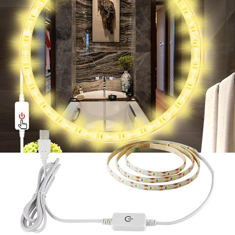 Moda USB Interruptor táctil regulable LED Luz de tira impermeable blanco cálido/0,5/1/2/3/4/5M LED ajustable de cinta TV Decoración