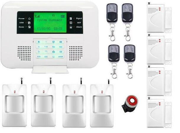 Spanish Russian English Voice 433MHz Wireless GSM PSTN Home Alarm System PIR Detector Door Sensor Metal Remote Control Kit