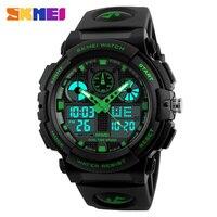 SKMEI Brand Men Dual Display Wristwatches LED Male Sports Style Waterproof Alarm Military Luxury PU Band