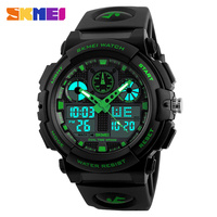 SKMEI Brand Men Dual Display Wristwatches LED Male Sports Style Waterproof Alarm Military Luxury PU Band