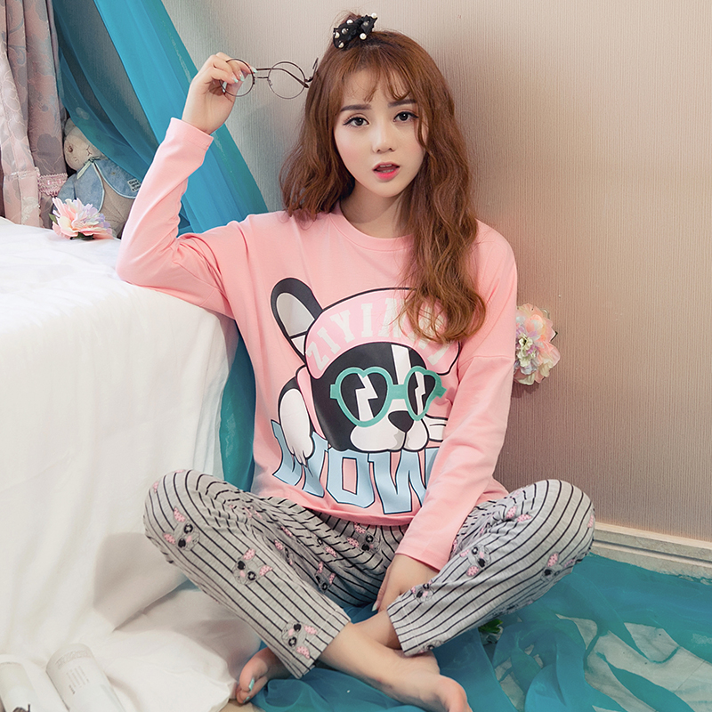 Hot Sale Spring Autumn Long Sleeved Cotton Womens Pajamas Set Cartoon Sleepwear Girls Pyjamas Mujer Lady Casual Home Clothing