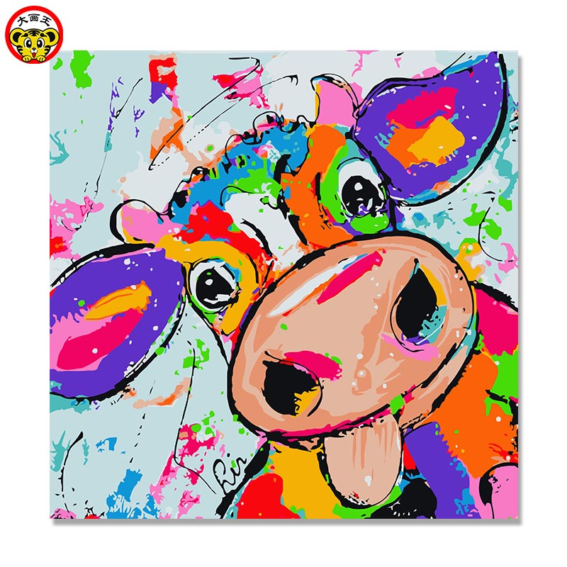 Painting By Numbers Art Paint By Number Hot Pot Shop Children's Cartoon Cattle DIY Digital Paintings To Decorate Their Coloring