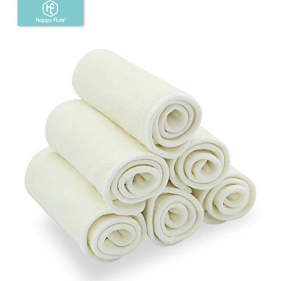 Счастливый Флейта 5/10 шт 4 слоя бамбуковый вкладыш вставка для детской ткани подгузник натуральный бамбук моющийся