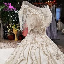 77983b0e1 AIJINGYU الفاخرة الدانتيل الزفاف فساتين تصميم في الهواء الطلق مع قطار طويل  العروس على الانترنت التسوق ثوب كندا فستان زفاف المصمم.