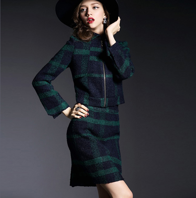 335f2992e Office Uniform Style Women Elegant Business Skirt Suits Ladies Office Wear  Woolen Jacket and Skirt 2 Piece Set For Autumn/Winter-in Skirt Suits from  ...