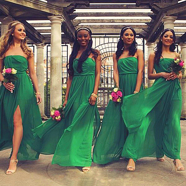 5cf26c113b81 Mai abbastanza chiffon lungo junior verde smeraldo damigella d  39 onore  del vestito da