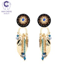HanCheng New Golden Boho Bohemian Flower Tassel Leaf Dangle Hanging Long Clip Earrings For Women Jewelry Vintage bijoux brincos