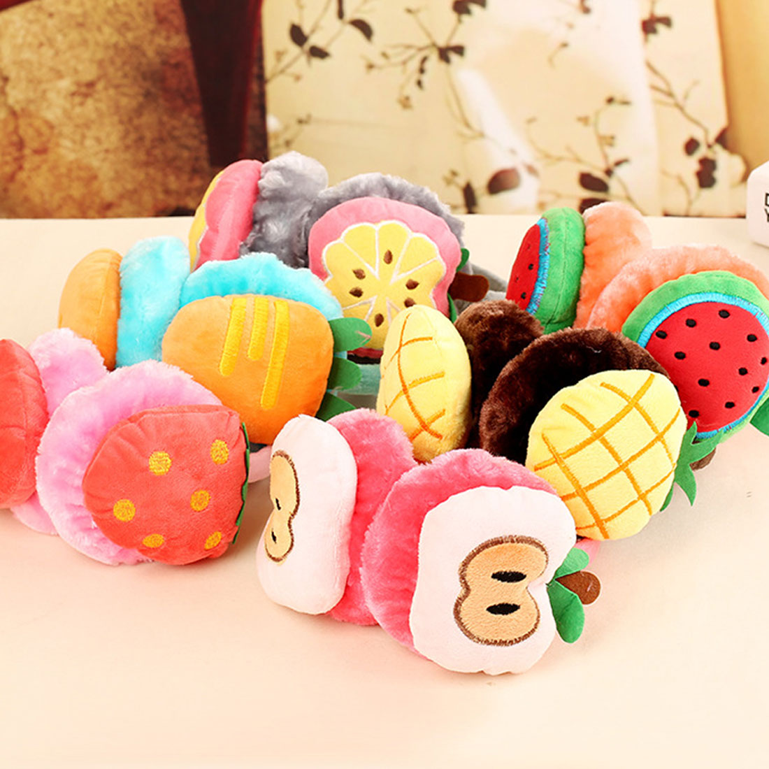 New Winter Warm Lovely Cartoon Plush Children Earmuffs Ear Fruit Series Watermelon Strawberry Thick Boys Girls Ear Muffs