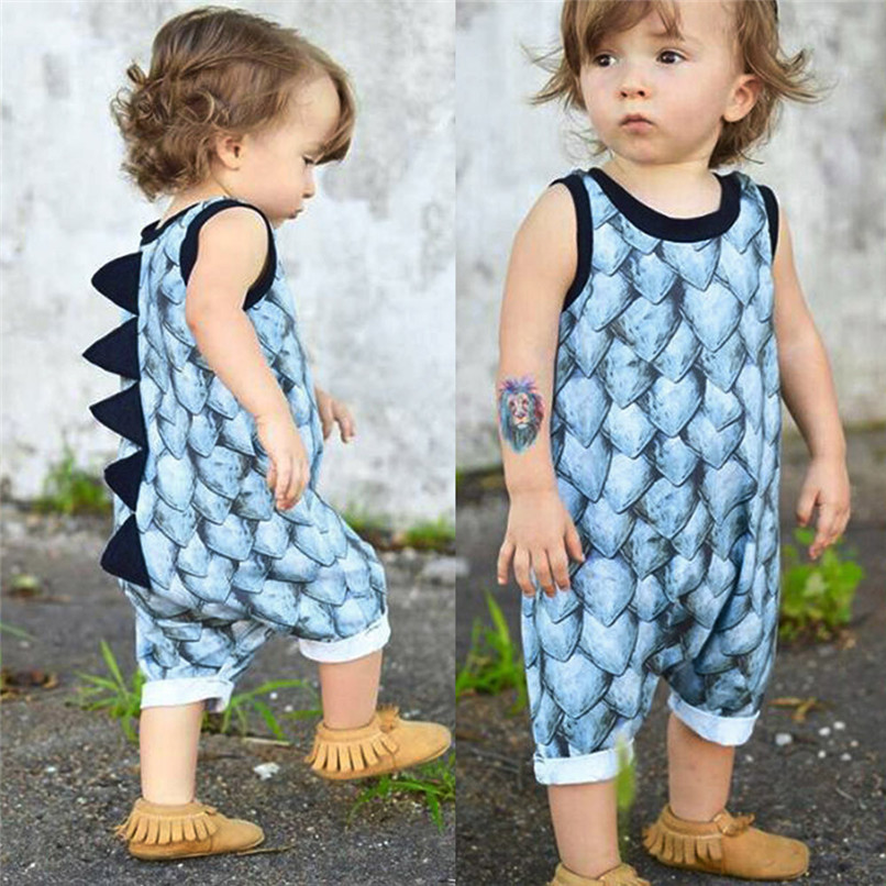 Summer Baby Clothes Toddler Newborn Infant Baby Girl Boy Sleeveless Dinosaur Print Romper Jumpsuit Baby Boy Girl Romper M8Y30#F